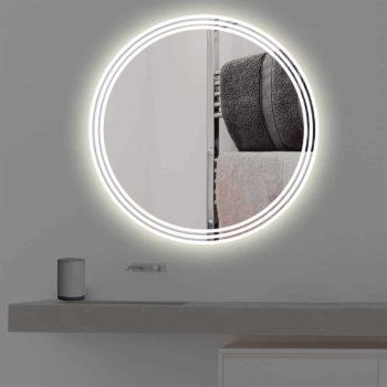 Badspiegel mit Beleuchtung auf 3 Streifen in warmweiss