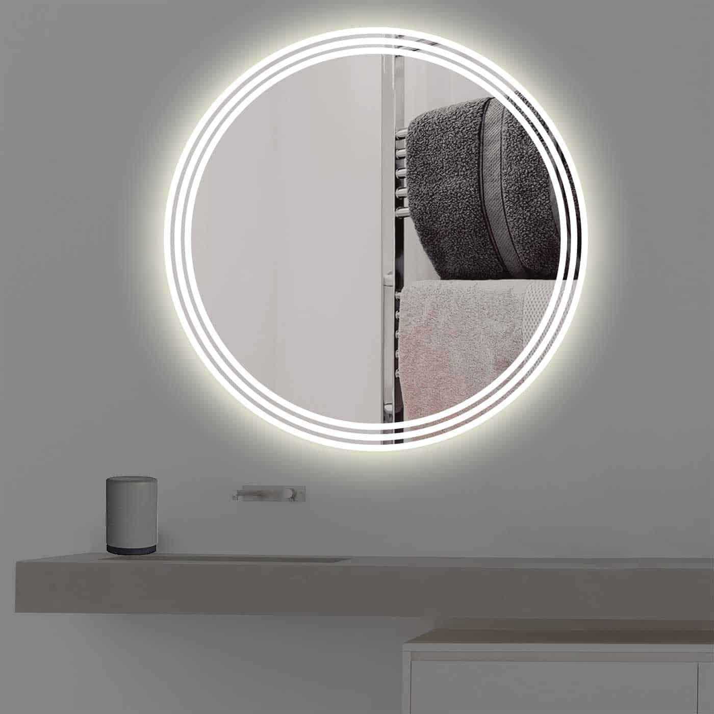 Badspiegel mit beleuchtung auf 3 streifen rund r 400 for Beleuchtung led