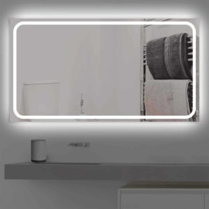 Badspiegel LED beleuchtet schmale Streifen | K 218 kaltweiss