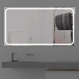 Badspiegel LED beleuchtet schmale Streifen   K 218