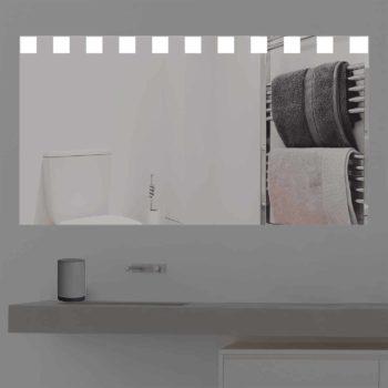 Badspiegel LED beleuchtet mit kleinen Quadraten | KS 307