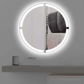 Badspiegel mit Beleuchtung in kreuz   rund   R 403 in kaltweiss