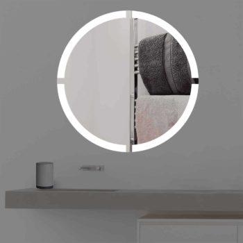 Badspiegel mit Beleuchtung in kreuz   rund   R 403