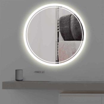 Badspiegel mit Beleuchtung | rund | R 404 in warmweiss